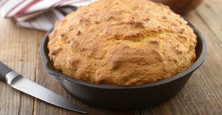 Old Fashioned Cornbread Cooked In A Cast Iron Skillet A